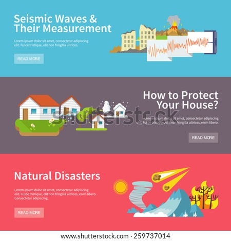 Natural disaster horizontal banners set with seismic waves measurement house protect elements isolated vector illustration - stock vector