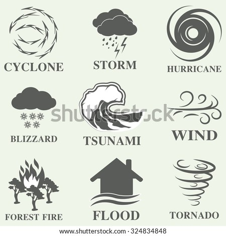 Natural disaster icons black set with tsunami snow storm thunder isolated vector illustration - stock vector