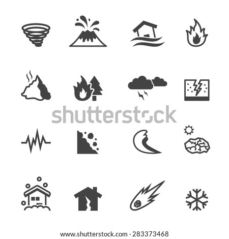 natural disaster icons, mono vector symbols - stock vector