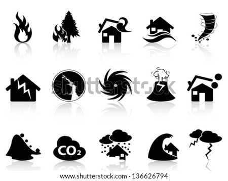 Natural disaster icons set - stock vector