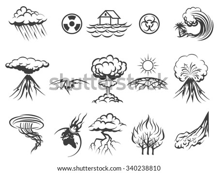 Natural disaster icons set. Tornado and radiation, apocalypse and typhoon, asteroid and flood, fire and storm, vector illustration - stock vector
