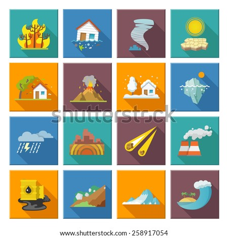 Natural disaster icons set with tide volcano erupting earthquake flood isolated vector illustration - stock vector