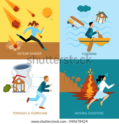 Natural disasters safety design concept with people escape from tornado and hurricane flat icons isolated vector illustration - stock vector