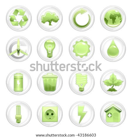 natural energy and recycling icon set