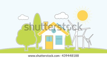 Natural energy. House alternative energy. environmental conservation concept. Banner eco energy. Vector illustration, flat minimalistic design line style. Protection ecology innovative technology. - stock vector