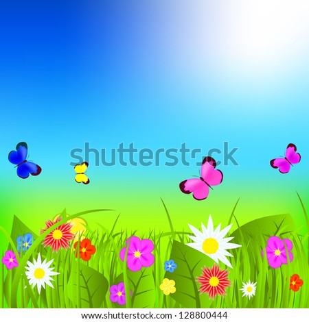 Natural floral background vector illustration