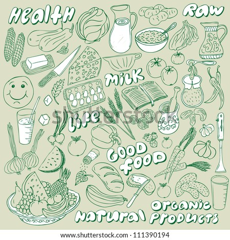 natural food doodles collection - stock vector