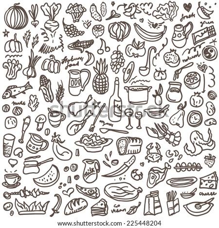 natural food - doodles set - stock vector