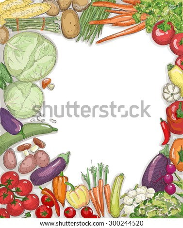 Natural food vegetables frame against white backdrop with emty place for text. - stock vector