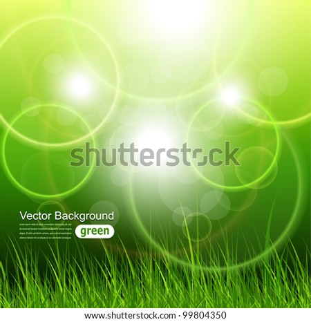 Natural green background with vector grass. - stock vector