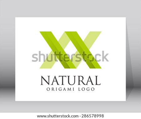 Natural green line art logo symbol icon shape element design vector ecology template - stock vector