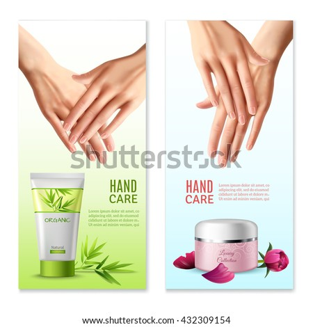 Natural hand creams with plants and rose buds extracts 2 vertical realistic banners with text isolated vector illustration  - stock vector