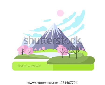 Natural illustration with big mountain. Flat style. Asian landscape. - stock vector
