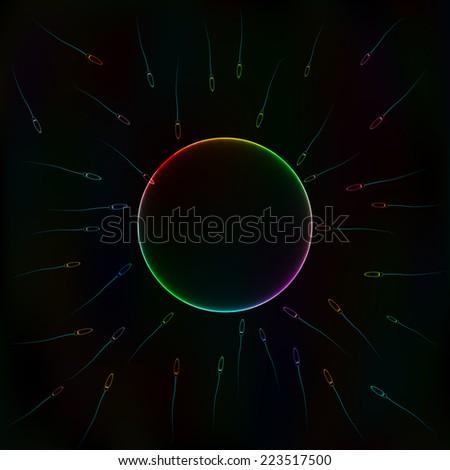 Natural insemination: sperm fertilizing egg cell, vector colorful illustration - stock vector