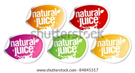 Natural juice stickers set. - stock vector
