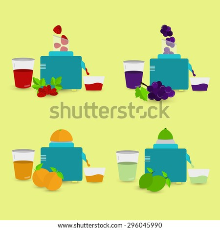 Natural juices. Four natural juices being prepared with food processor and squeezer. Strawberry juice, grape juice, orange juice, lemon juice. - stock vector