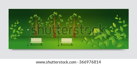 Natural landscape in the flat style.a beautiful park.Environmentally friendly natural landscape.Vector illustration