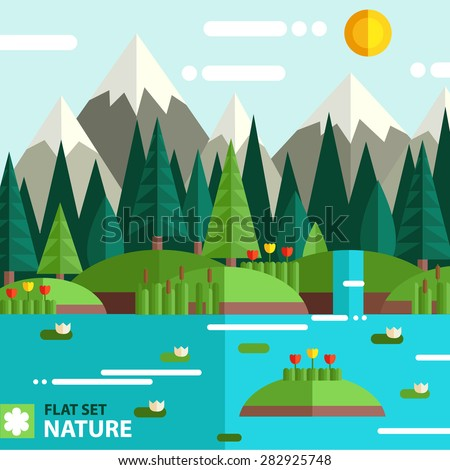 Natural landscape in the flat style. Lake, meadows and fir trees, flowers and reeds - a beautiful park. Environmentally friendly natural landscape.  - stock vector