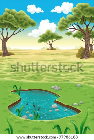 Natural landscape. Vector realistic illustration. - stock vector