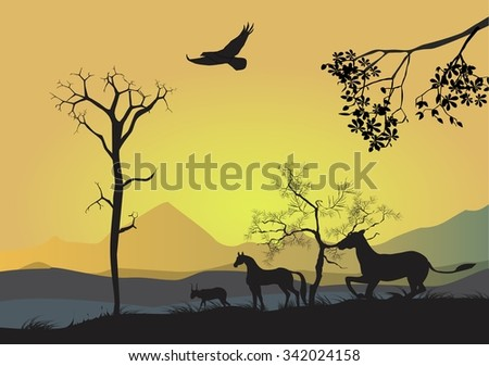 Natural landscape vector silhouette. Horses running, trees, tree brunch silhouettes and mountains on backround