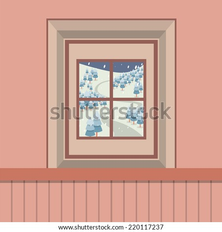 Natural Landscape View Through The Window Vector Illustration