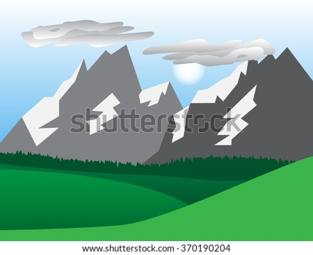 Natural landscape with hills, mountains, trees, sun  and clouds. - stock vector