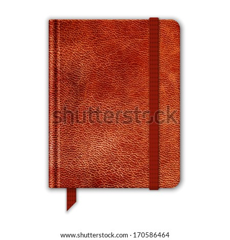 Natural Leather Notebook. Copybook With Band And Bookmark. Vector - stock vector