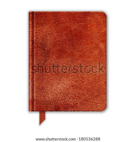 Natural Leather Notebook. Copybook With Bookmark. Vector - stock vector