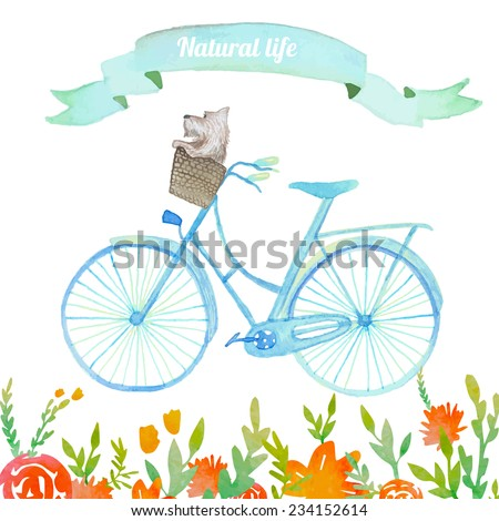 Natural life. Hand drawn cute illustration with bicycle, dog in basket, vintage ribbon and flowers background. - stock vector