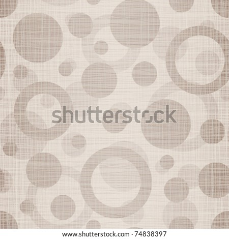Natural linen fabric with drawing circles - stock vector
