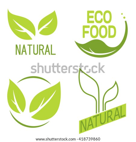 Natural logos with leaves.