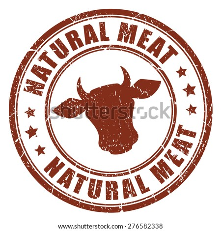 Natural meat stamp - stock vector