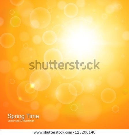 Natural  orange background with vector sun. - stock vector
