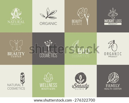 Natural, organic and beauty logo template with hand drawing icons - stock vector