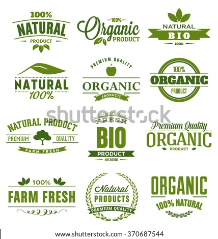 Natural, Organic, Bio, Farm Fresh Design Collection - A set of twelve green colored vintage style Designs on light background - stock vector