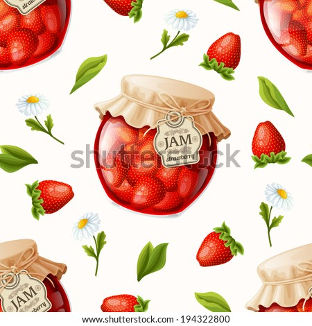 Natural organic strawberry berry jam jar flowers and leaves seamless pattern vector illustration - stock vector