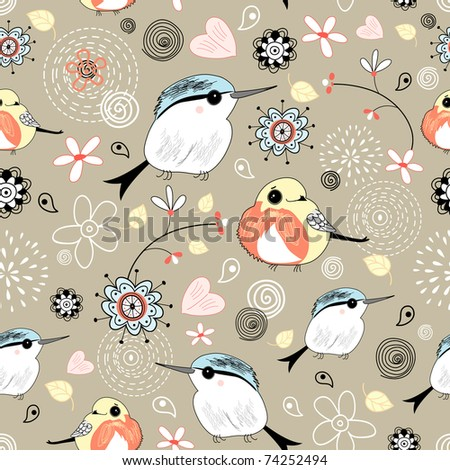 natural pattern with birds - stock vector