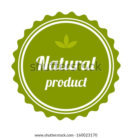Natural product badge and label. Vector illustration. - stock vector