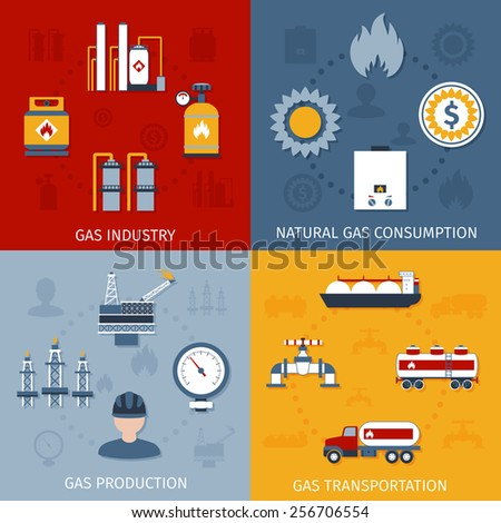 Natural raw gas industry production transportation and consumption 4 flat icons composition design abstract isolated vector illustration - stock vector