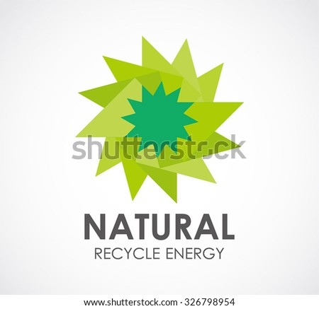 Natural recycle energy of circle green leaf abstract vector and logo design or template business nature icon of ecology company symbol concept - stock vector