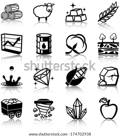 Natural resources related icons/ silhouettes - stock vector