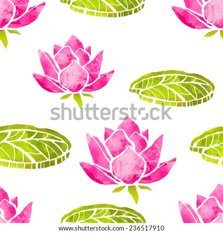 Natural seamless pattern with watercolor lotus flowers, leafs on a white background. Floral texture, batik. Cloth art design. Wallpaper  - stock vector