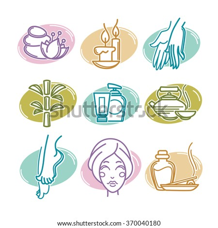 natural spa icons, emblems and symbols, linear style - stock vector