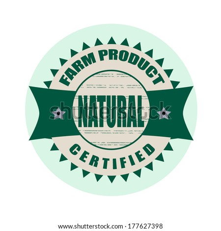 natural stamp whit on vector illustration
