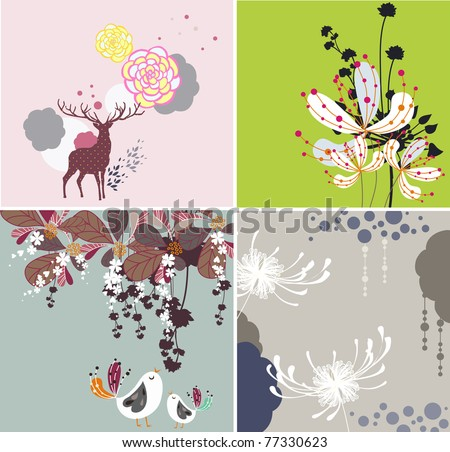 natural textures with birds - stock vector