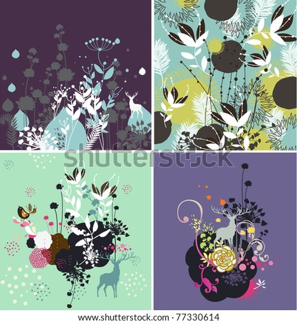 natural textures with birds with high quality drawing set of four - stock vector