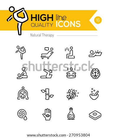 Natural Therapy line icons series - stock vector