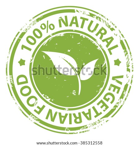 Natural Vegetarian food 100 percent icon isolated on white background. Eco bio fresh healthy food. Vector illustration - stock vector