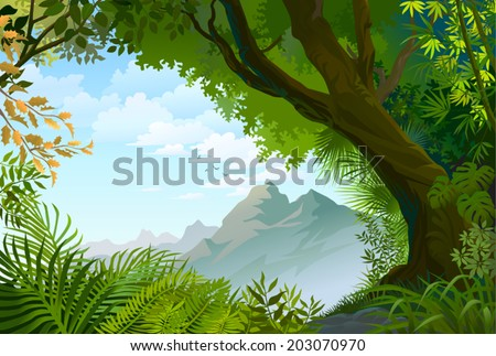 Natural view through a mesmerizing forest. - stock vector