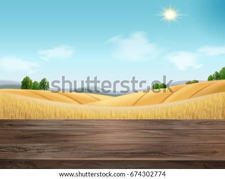 Natural wheat filed background with wooden table in 3d illustration